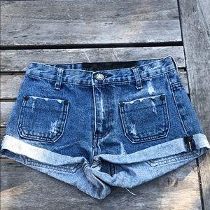 One Teaspoon Distressed Jean Denim Shorts 24